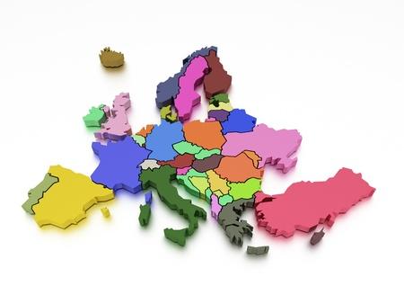 mapa europa: Representaci�n 3D de un mapa de Europa en colores brillantes