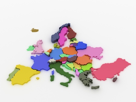 mapa europa: Three-dimensional mapa de Europa en colores brillantes