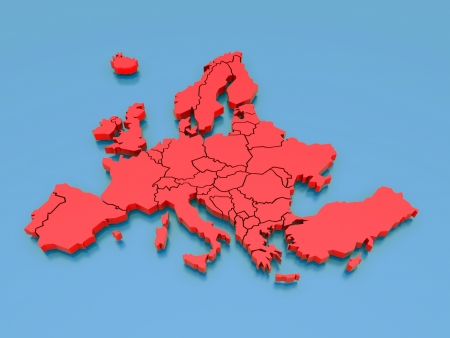 european map: 3d rendering of a map of Europe in Red
