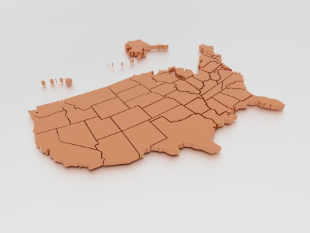 3D map of United States In Orange Stock Photo - 16454242