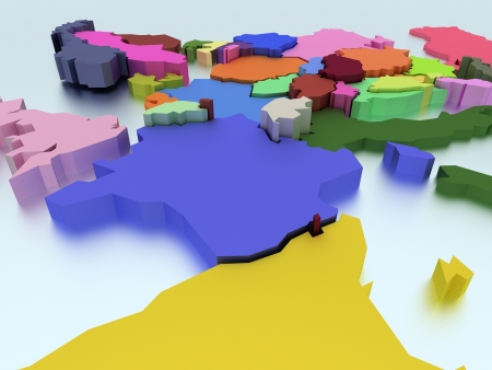 Three-dimensional map of Europe in bright colors