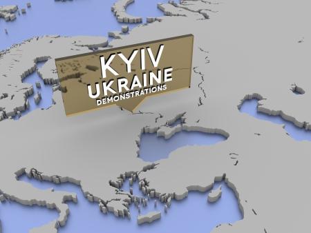 Kiev, Ukraine - demonstrations picker on a 3d rendered map