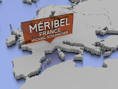 Méribel, France, Michael Schumacher map picker in 3D
