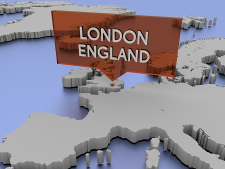 3d world map illustration - London