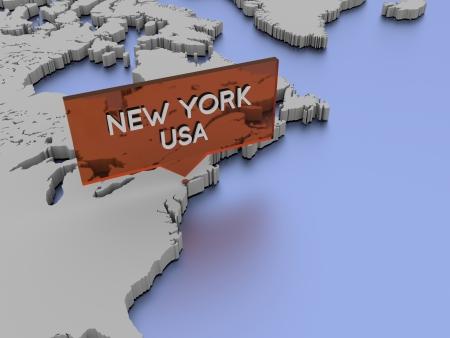 3d world map illustration - New York