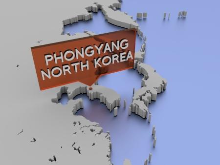 3d world map illustration - Phongyang