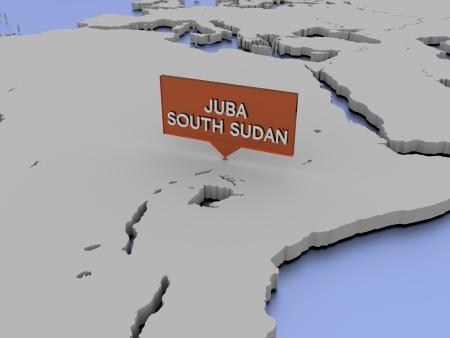 3d world map illustration - Juba Stock Photo