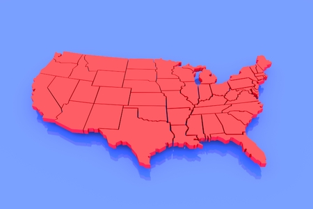3D isolated map of USA in red on blue