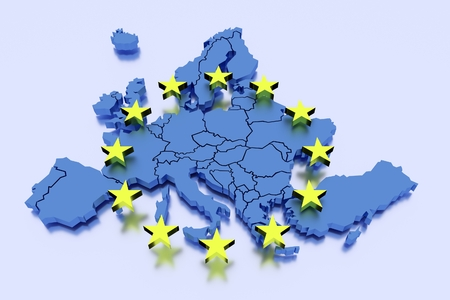 3D isolated map of EU with stars