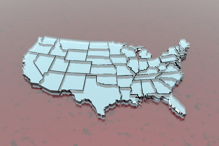 3D isolated map of USA in glassy white on red