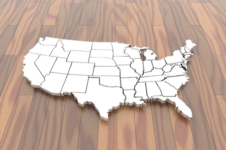 3D isolated map of USA in glossy white on wood floor