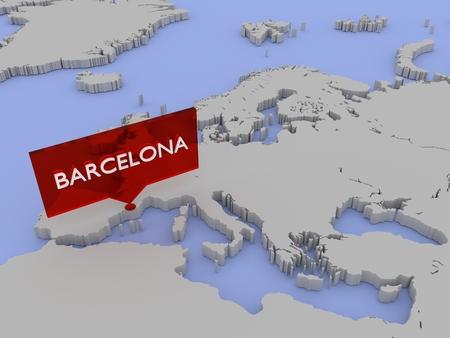 3d world map sticker - Barcelona Reklamní fotografie - 84913711