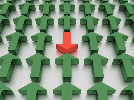 Green arrows agains a red one isolated on a mirrored white plane. 3D illustration.