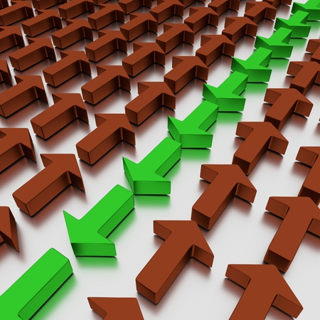 Green arrows agains reds, isolated on a mirrored white plane. 3D illustration. Stock Photo