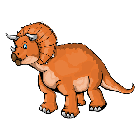 Isolated illustration of a cartoon Triceratops