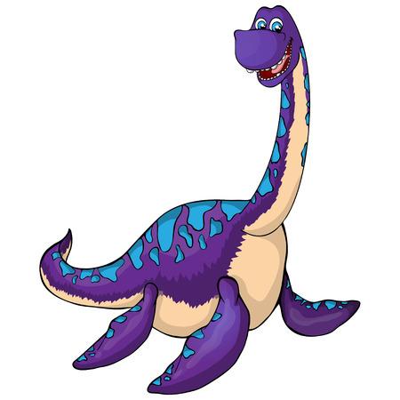 Aquatic dinosaur icon. Cartoon illustration of aquatic dinosaur vector icon for web isolated on white background