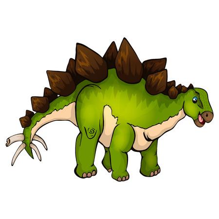 Isolated vector illustration of a cartoon stegosaurus