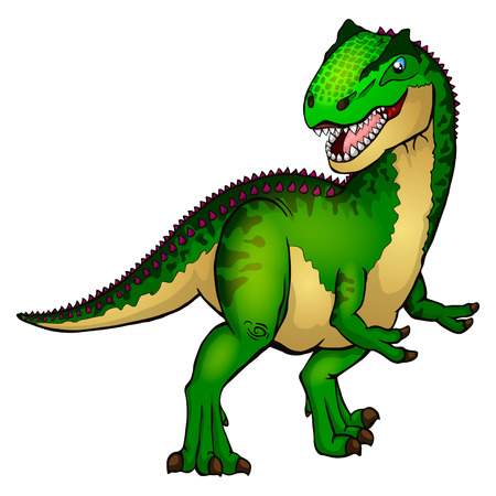 Cute cartoon allosaurus. Isolated illustration of a cartoon dinosaur.