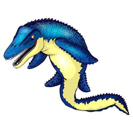 Cute cartoon mosasaurus. Isolated illustration of a cartoon dinosaur.