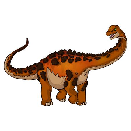 かわいい漫画チタノサウルス。漫画の恐竜の孤立したイラスト。