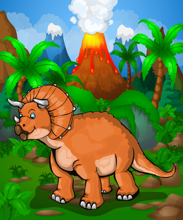 Cute cartoon triceratops. Vector illustration of a dinosaur on the jungle.