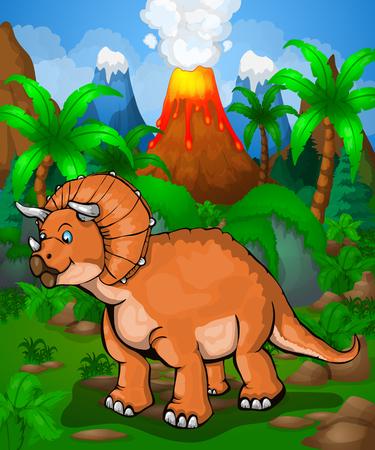 Cute cartoon triceratops. Vector illustration of a dinosaur on the jungle.