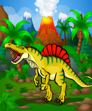 Cute cartoon spinosaurus. Vector illustration of a cartoon dinosaur.
