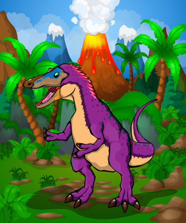 Cute cartoon Pinocchio Rex. Vector illustration of a cartoon dinosaur.