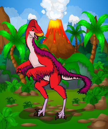 Cute cartoon Anzu Wylie. Vector illustration of a cartoon dinosaur.