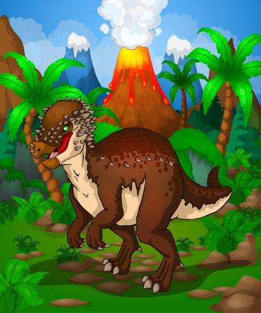 Cute cartoon pachycephalosaurus, vector illustration of a cartoon dinosaur.