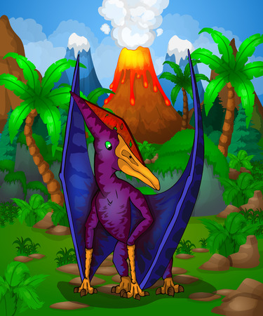 Cute cartoon Pteranodon isolated illustration of a cartoon dinosaur.