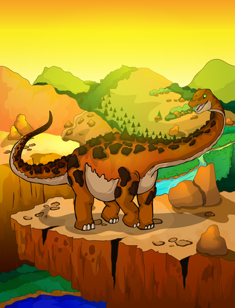 Cute cartoon titanosaur with landscape background. Vector illustration of a cartoon dinosaur.