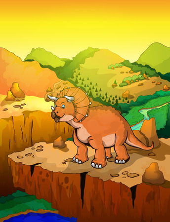 Cute cartoon triceratops with landscape background. Vector illustration of a cartoon dinosaur.