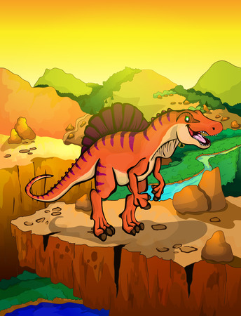 Cute cartoon spinosaur with landscape background. Vector illustration of a cartoon dinosaur. Illustration
