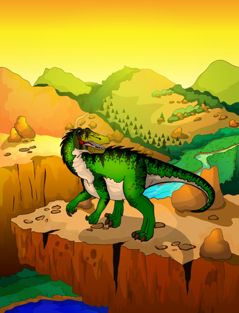 Cute cartoon baryonyx with landscape background. Vector illustration of a cartoon dinosaur. Stock Illustratie