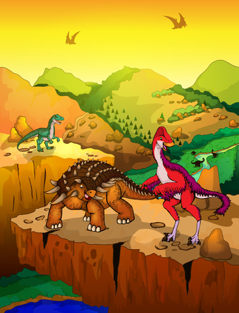 Cute cartoon ankylosaurus and Anzu with landscape background. Vector illustration of a cartoon dinosaurs. Illustration