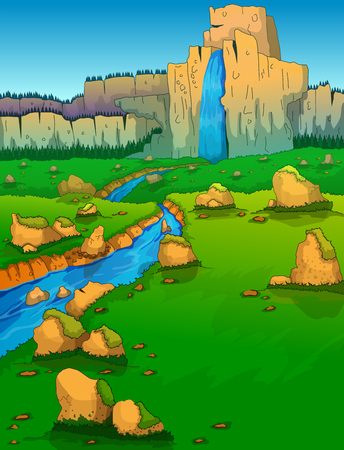 Mountain range, river and green valley illustration.