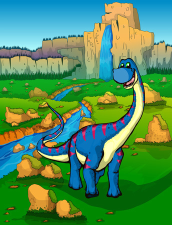 Diplodocus on the background of nature Illustration
