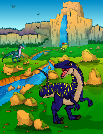 Cute cartoon velociraptors on the background of nature. Vector illustration of a cartoon dinosaurs. Stock Illustratie