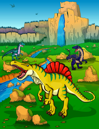 Spinosaur on the background of nature