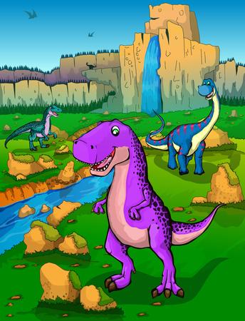 Cute cartoon Tyrannosaurus, Diplodocus and velociraptor on the background of nature. Vector illustration of a cartoon dinosaurs.
