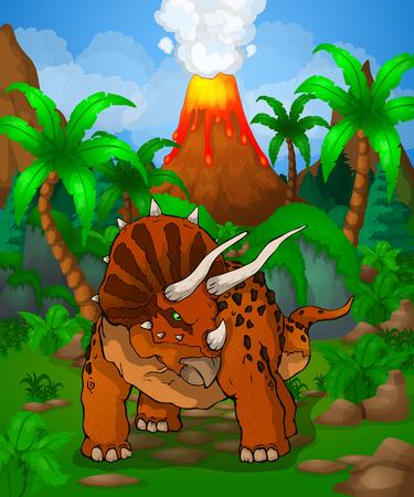 Cute cartoon triceratops. Vector illustration of a cartoon dinosaur. Illustration