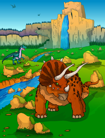 Triceratops on the background of nature Illustration
