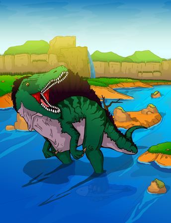 Spinosaurus on the river background 일러스트