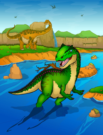 Allosaurus on the river background