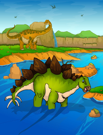 Stegosaurus on the river background