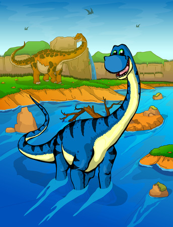 Diplodocus on the river background Illustration