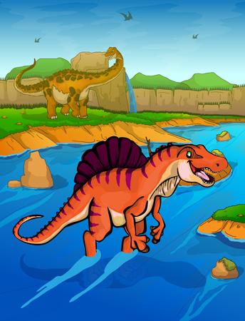 Spinosaurus on the river background Illustration