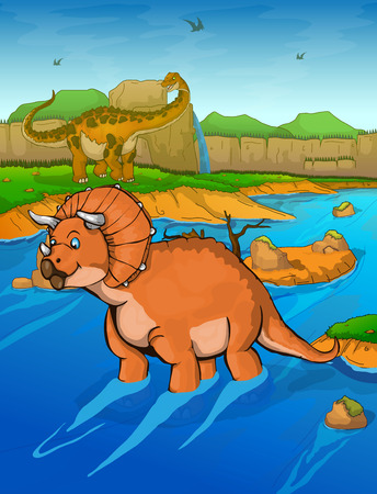 Triceratops on the river background