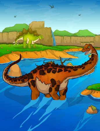 Titanosaur on the river background Illustration